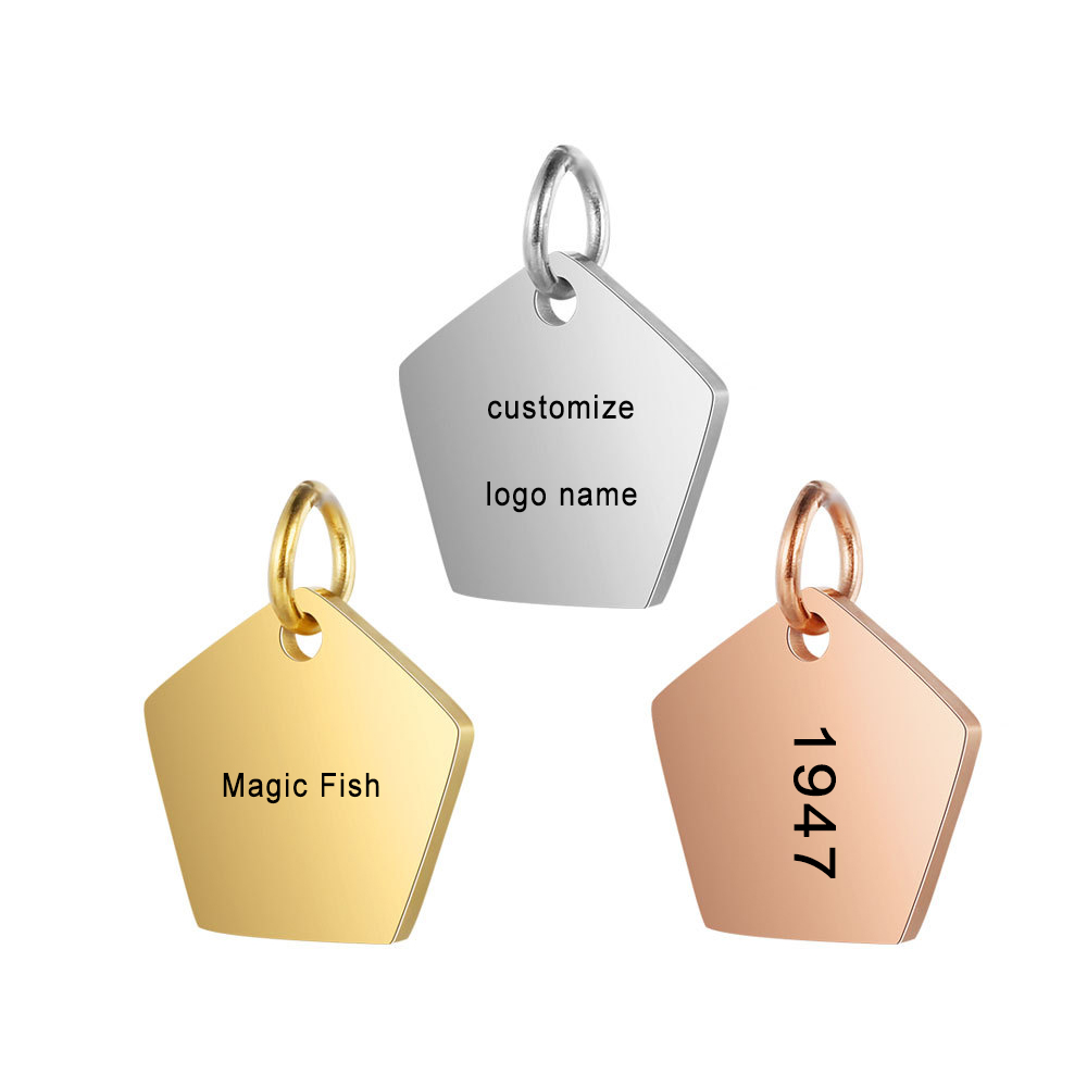 Customized Charms for Jewelry Making Gold Stainless Steel Polygon Pendant Engrave Logo Letter Diy Earring Bracelet Necklace Lots