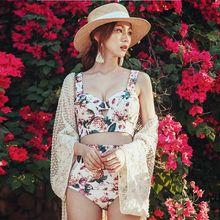 Conjunto de Bikini para mujer, bañador Sexy con estampado Floral, camisola y Braga, traje de baño de dos piezas con lazo, traje de verano