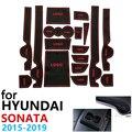 Противоскользящие резиновые чашки подушки двери паз коврик для hyundai Sonata LF 2015 ~ 2019 2016 2018 аксессуары наклейки автомобиля коврик для телефона