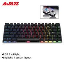 Ajazz AK33 82 клавишная клавиатура Проводная Механическая клавиатура на русском/английская раскладка синий/черный переключатель RGB подсветкой бесконфликтное