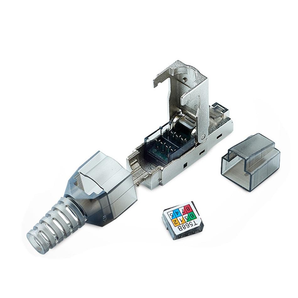 Connecteur Ethernet RJ45 Cat6A, connecteur RJ 45 Cat 6A, bouclier métallique en alliage de Zinc, tête de réseau en cristal 8P8C, prise modulaire sans outil