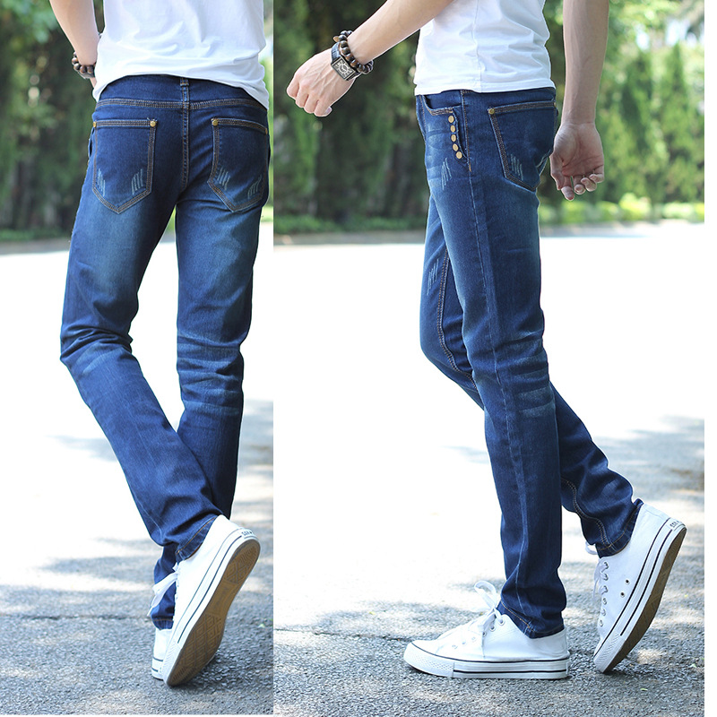 2015 Autumn New Style South Korea Jeans Men's Skinny Pants Elasticity Cat Whisker Medium Waist Skinny Trousers Fashion