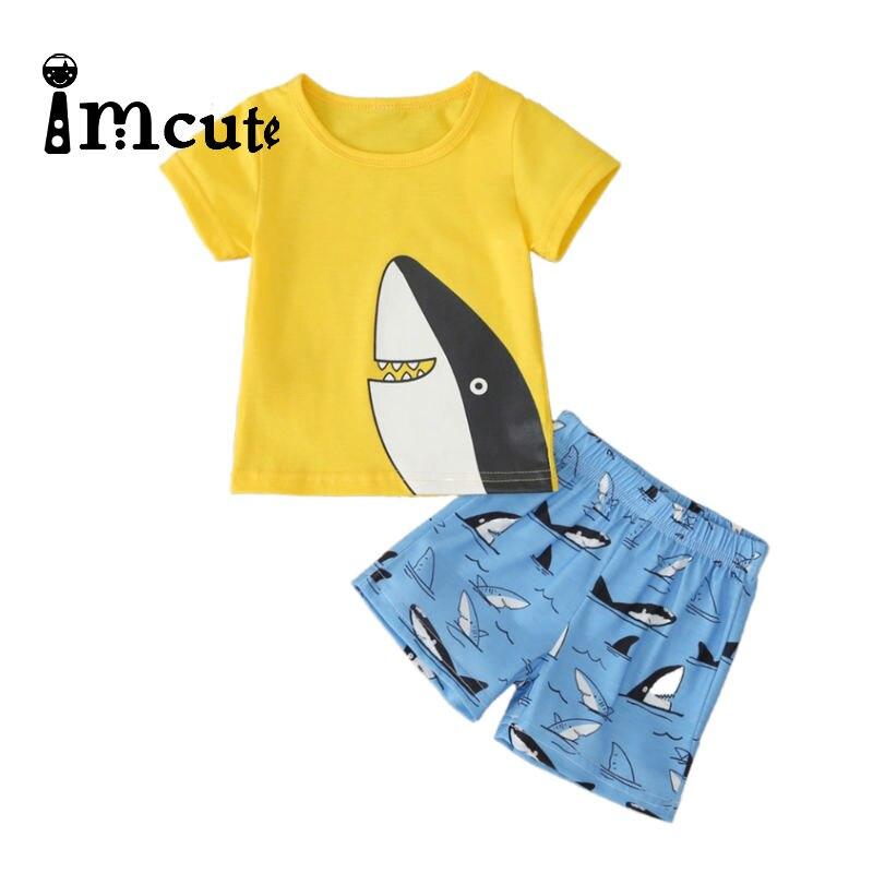 Boys Clothing Children Summer Cartoon Kids Clothing Set T-shit+Pants Cotton