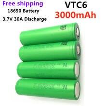 1-20 pces original novo 3.7v 18650 vtc6 3000mah bateria recarregável de lítio us18650vtc6 30a descarga para brinquedos lanterna