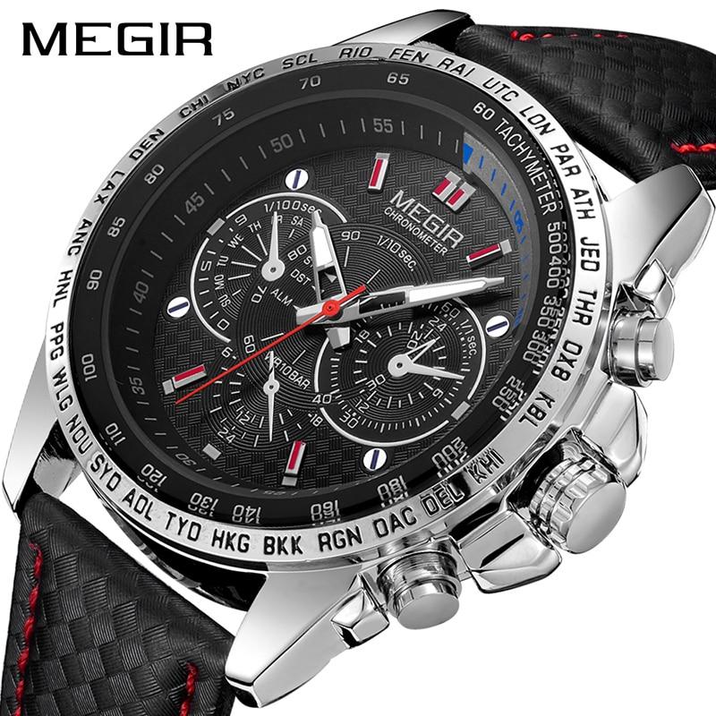 MEGIR Mens Watches Top Brand Luxury Quartz Watch Men Fashion Luminous Army Waterproof Men Wrist Watch  Relogio Masculino 2019