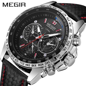MEGIR męskie zegarki Top marka luksusowy zegarek kwarcowy mężczyźni moda Luminous Army wodoodporny mężczyźni Wrist Watch Relogio Masculino 2019 tanie i dobre opinie Klamra 23cm Moda casual QUARTZ 3Bar STAINLESS STEEL 12mm Hardlex MEGIR 1010G 20mm ROUND Kwarcowe Zegarki Na Rękę Papier