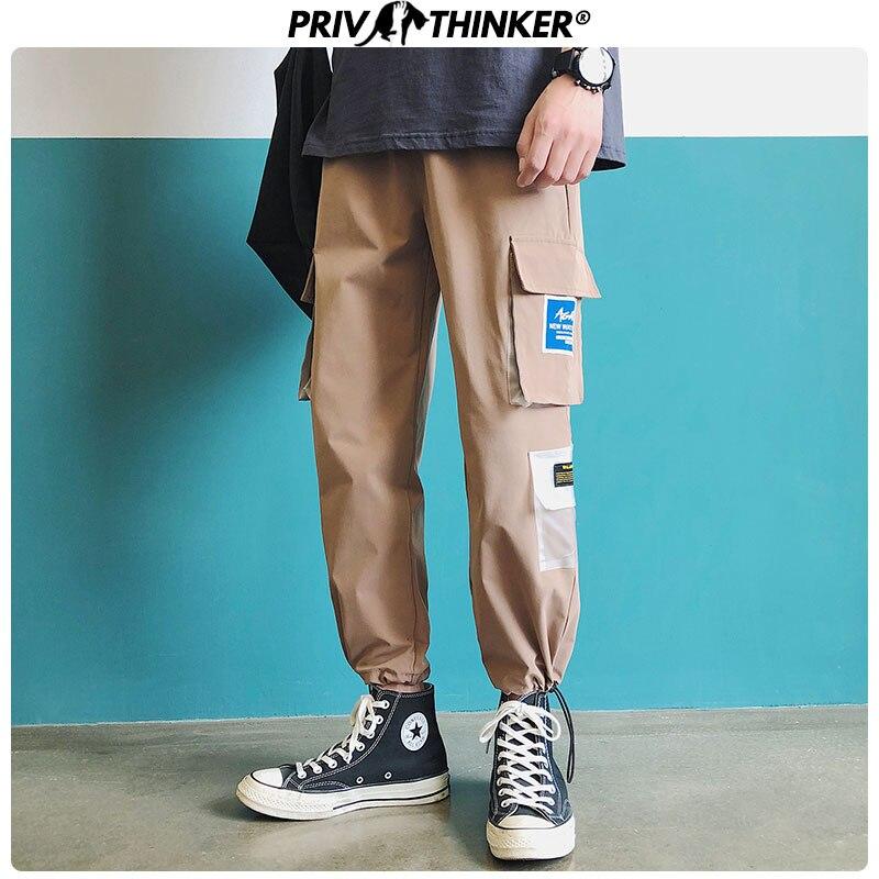 Privathinker Men Japanese Streetwear Sweatpants Joggers 2020 Overalls Men Hip Hop Cargo Pants Pockets Designer Track Pants 2XL
