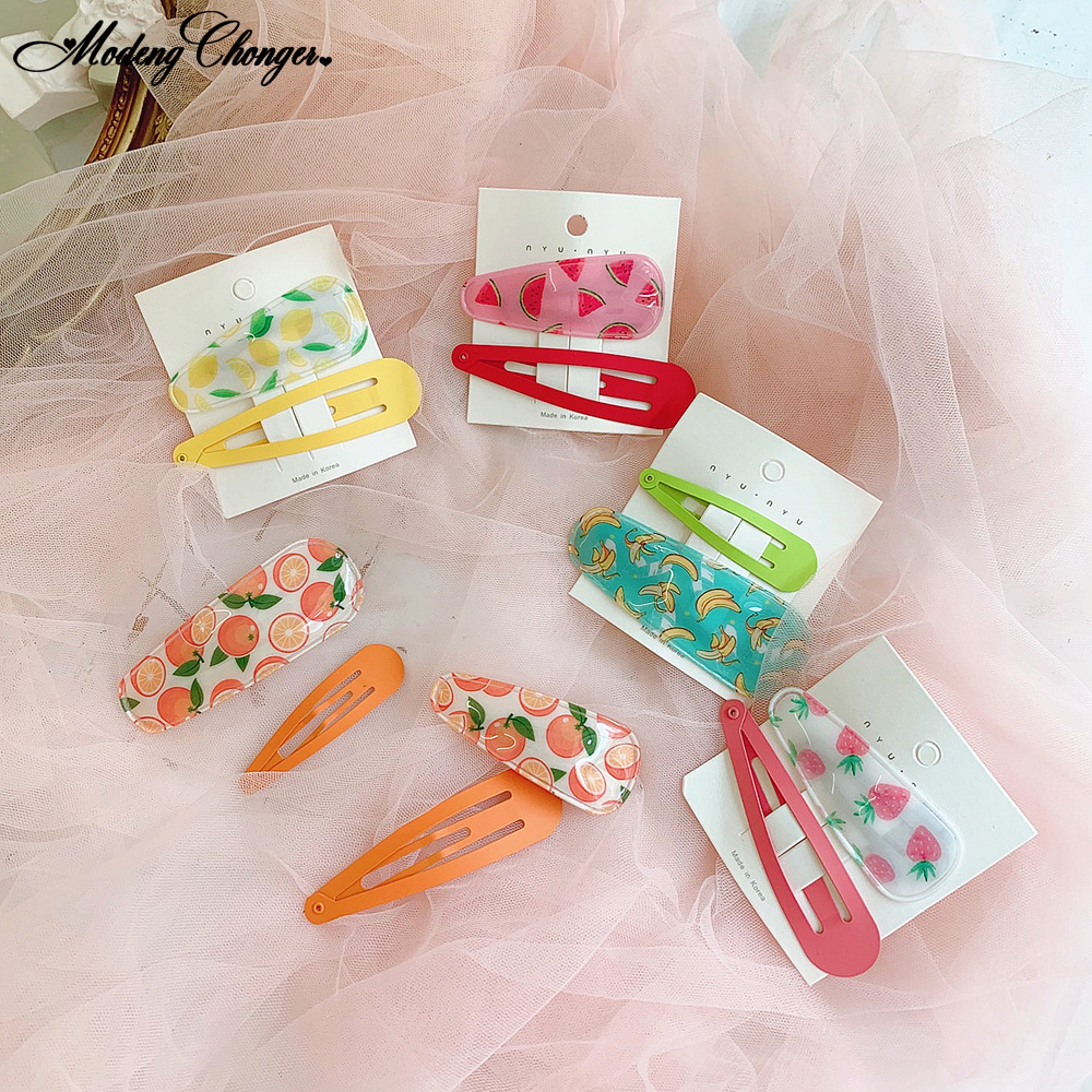 2PCS Set Fluorescent Color Fashion Hairgrip Barrettes Hairband For Girls South Korea In Summer Fruits Hairpins Hair Accessories in Women 39 s Hair Accessories from Apparel Accessories