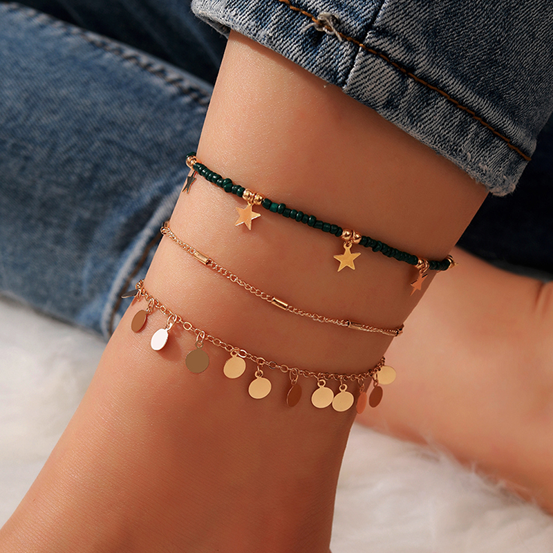 Tocona 3pcs/sets Green Bead Anklets for Women Charm Barefoot sandals Star Tassel Foot Chain Gold Wafer Summer Jewelry 14383