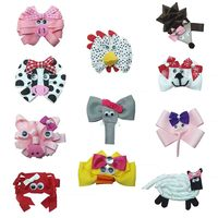 11pcs animals hair Bows for girls cows pig sheep Children Hair Clips Boutique Bows Hairpins Toddler Fastion Hair Accessories