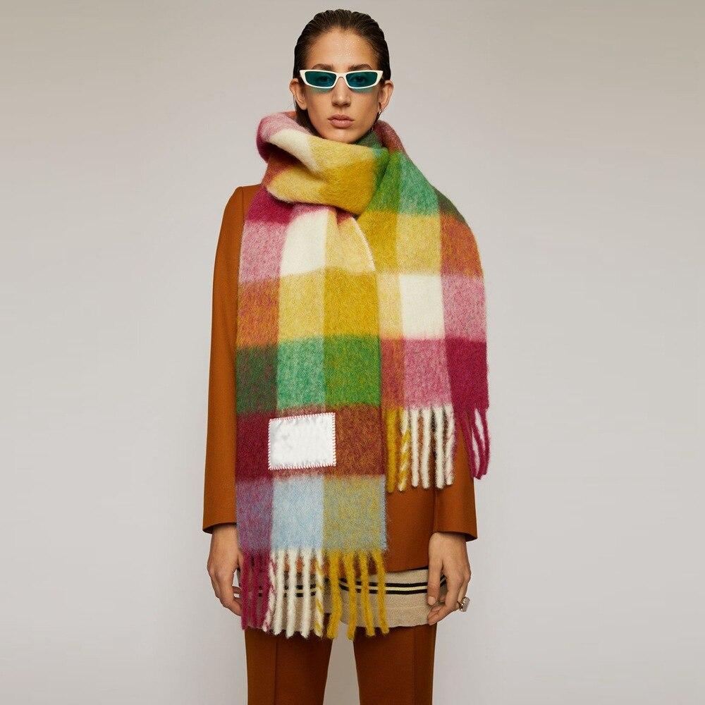 2020 Winter Scarves New Multicolor Plaid Tassel Scarf Ac Rainbow Plaid Shawl Men's Women's Warm Scarf