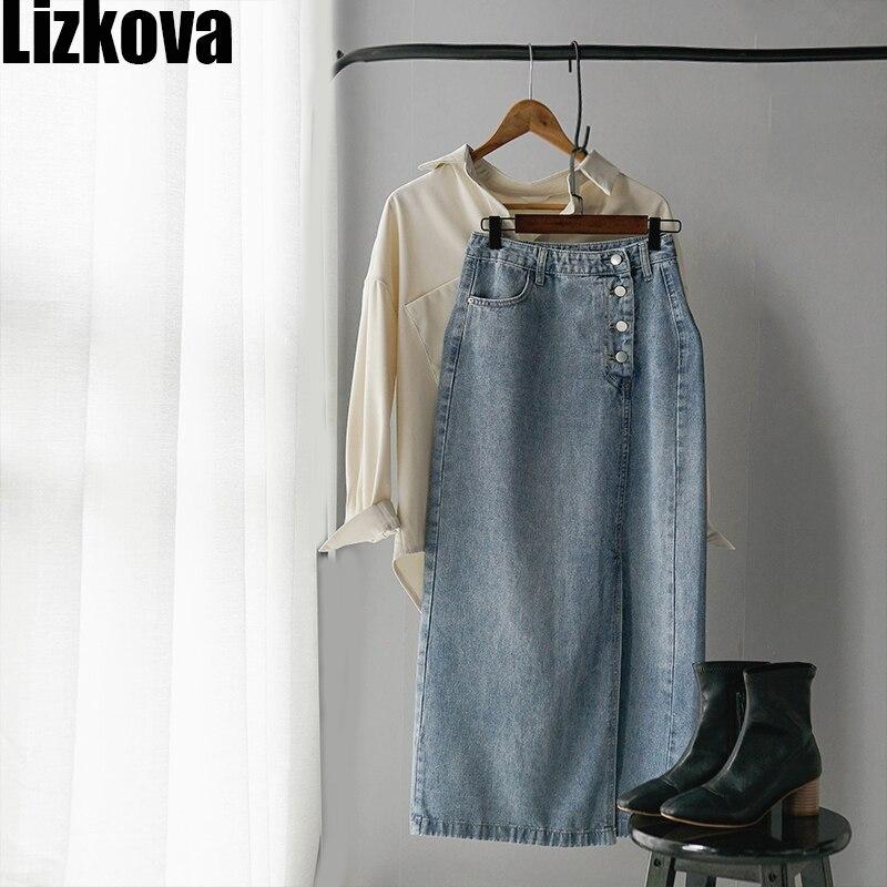2020 Spring Denim Skirt Women Blue High Waist Skirt Side Split Single-breasted Elegant Ladies Casual Skirt