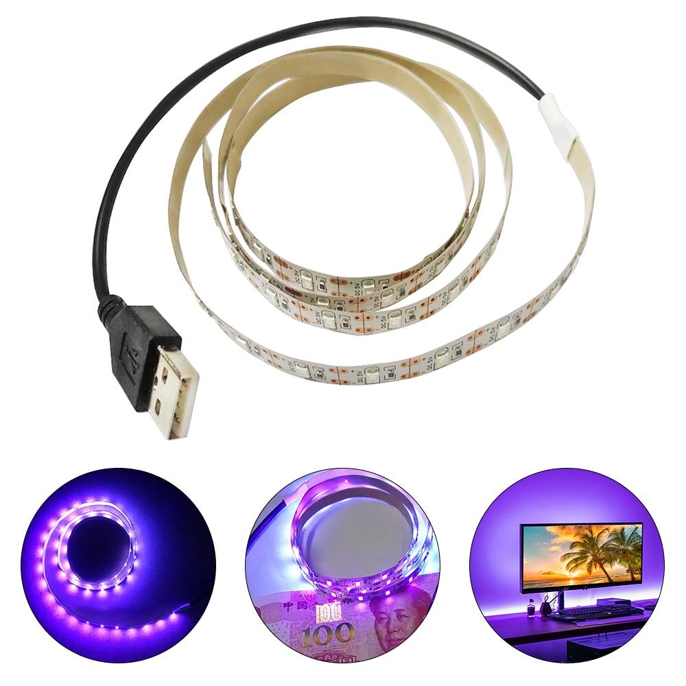 USB 5V Sterilization Disinfection MoneyDetector UV Ultraviolet LED Purple Light Bar Home Decoration Lamp UV LED Strip Light