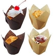 50 Pcs/set Christmas Baking Cake Cups Paper Proveided Tulip Shape Cupcake Tools Party Tray Decorating DIY Kitchen
