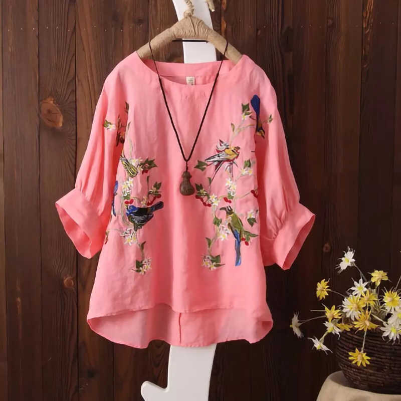 Blouse Plus size Women Tops Loose Embroidered Blouse Shirt Vintage Batwing sleeve Cotton Casual