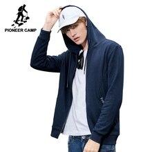 パイオニアキャンプ新シンプルなフード付きブランド服の手紙刺繍ジャケットコート男性品質上着ブルーAWY801272