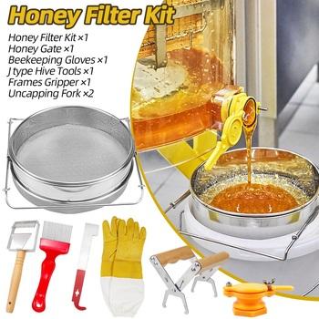Pszczelarstwo miód pszczeli zestaw narzędzi Fliter zestaw ekwipunku Uncapping zestaw miodu podwójny filtr miodu z widelcem Uncapping tanie i dobre opinie CN (pochodzenie)