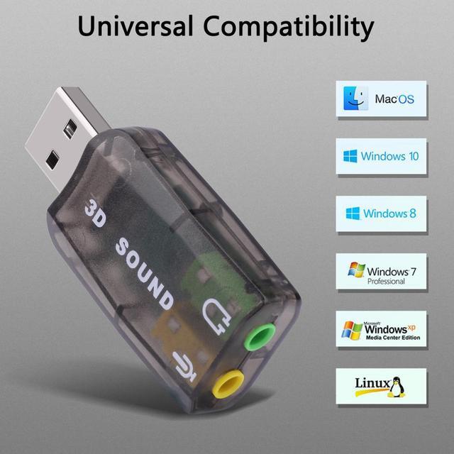 GOOJODOQ External USB Sound Card Adapter Audio 5.1 virtual 3D USB to 3.5mm microphone Speaker headphone Interface For Laptop PC 4