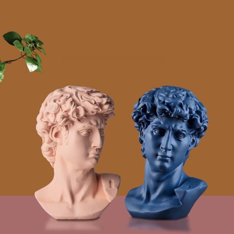 Nordic David Head Portraits Arts Sculpture Michelangelo Buonarroti Figurine Resin Craft Creative Decorations For Home R3873