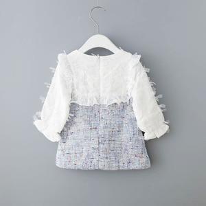 Image 2 - בנות שמלה חדשה סתיו אנגליה סגנון בנות בגדים ארוך שרוול משובץ ילדי בגדי ילדים שמלה עם פנינים 0 2Y