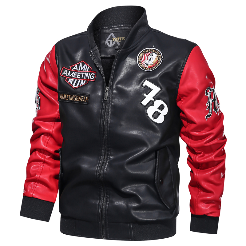 Jacket Bomber-Coat Motorcycle Faux-Leather Winter Brand Embroidery Pilot Fleece Casual