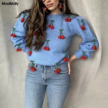 Mosimolly bonito cereja camisola pullovers jumper feminino o pescoço camisola de malha 2020 outono inverno malhas loungewear mohair camisola