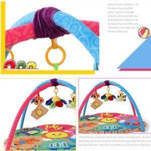 Image 4 - Cartoon animal Baby Activity Mat z stojakiem mobilne łóżeczko wielofunkcyjne dywan sensory edukacyjne dywan zabawki dla dzieci siłownia miękka mata do zabawy