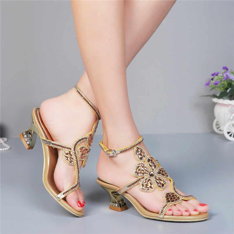 SNURULAN 2019 נשים של יוקרה קרסול מגפי; קיץ סנדלי; צבע הוא זהב, שחור; קיץ נעליים עם עקבים עבים 6 cm
