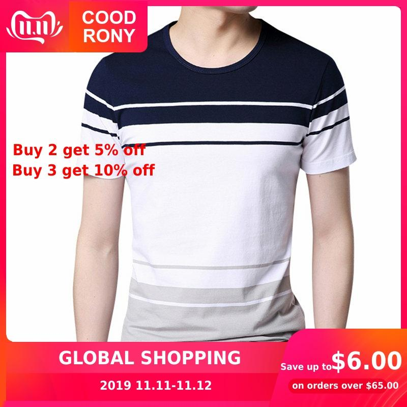 COODRONY O-Neck Cotton Tee 2019 Spring Summer New Casual Short Sleeve T Shirt Men Brand Clothing Big Striped T-Shirt Homme S7638