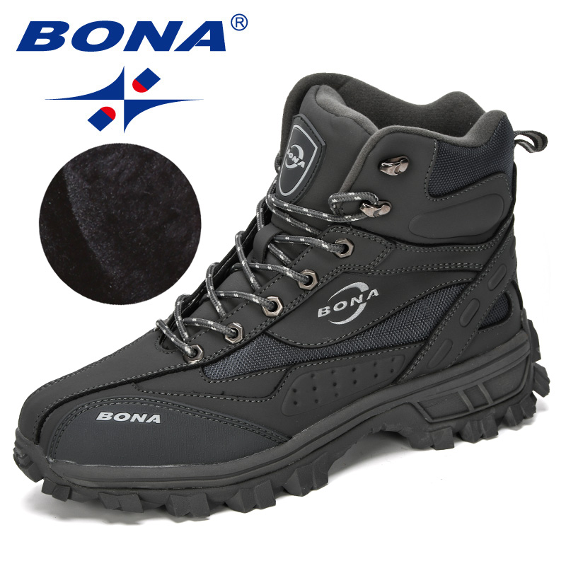 BONA 2019 New Designers Action Leather Shoes Climbing & Fishing Shoes Men Outdoor Shoes Man High Top Winter Boots Plush Comfy