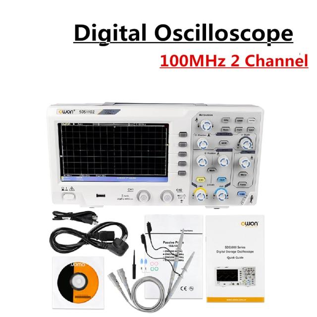 Oscilloscopes numériques 2 canaux 100MHZ bande passante 1GS/s Oscilloscope haute précision SDS1102 affichage LCD Portable USB