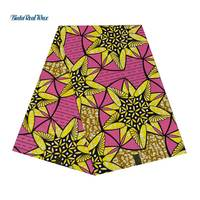 African Wax Print Cotton Fabric Yellow and Pink Flower 6 Yards Fabric BintarealWax Ankara Fabric for Party Dress 24FS1353
