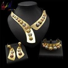 Yulaili Fashion Women Dubai Jewelry Sets Copper Alloy Nigerian Wedding Round Shape Necklace Pendant  Earrings African Bracelet