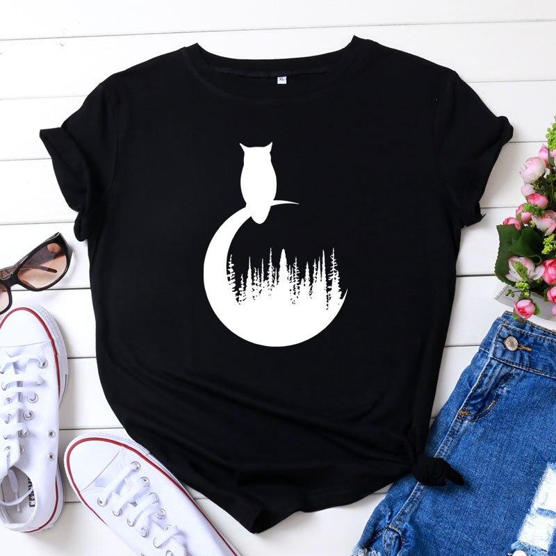 Большие размеры, S-5XL, новая футболка с принтом, Женская футболка из 100% хлопка с круглым вырезом и коротким рукавом, летняя футболка, топы, Пов...