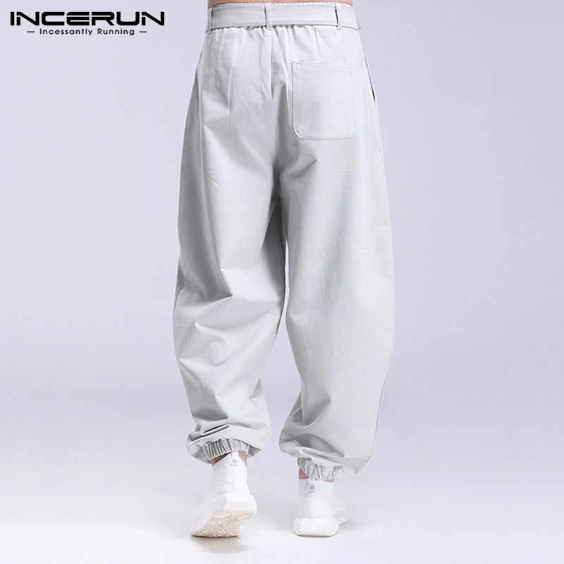 Incerun Mannen Casual Broek Mode Effen Kleur Lace Up Joggers 2020 Baggy Pockets Joggingbroek Streetwear Heren Harembroek Broek