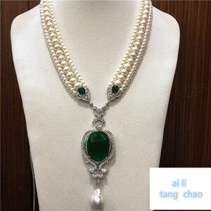 Image 2 - Mão atada branco natural pérola de água doce luxo multicamadas camisola corrente colar moda jóias