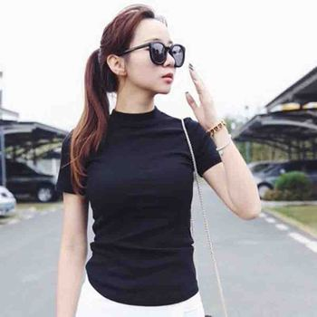 Women Clothes Ladies Summer Crop Top Black White O Neck Solid Color Loose Short Sleeve Casual T-Shirt Simple Wild Tops M-2XL shein color block cut and sew leopard panel top short sleeve o neck casual t shirt women 2019 summer leisure ladies tshirt tops