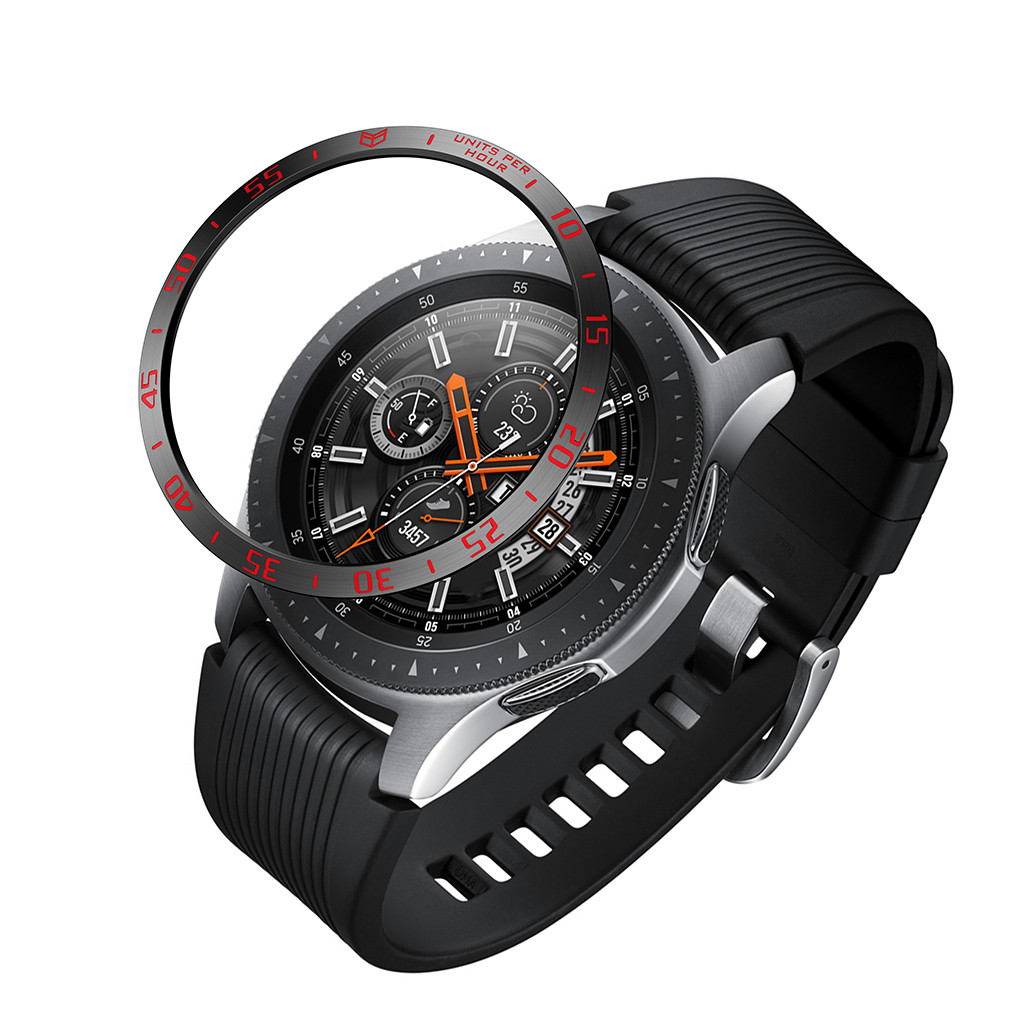 Smart Watch For <font><b>Samsung</b></font> Galaxy Watch <font><b>46mm</b></font> Bezel Ring Adhesive Cover Anti Scratch Metal Smart Watch Accessories image
