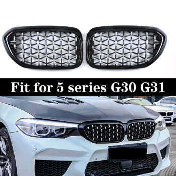 Pair Diamond Kidney Grille Grills For BMW 5 Series G30 G31 F90 M5 2017-in