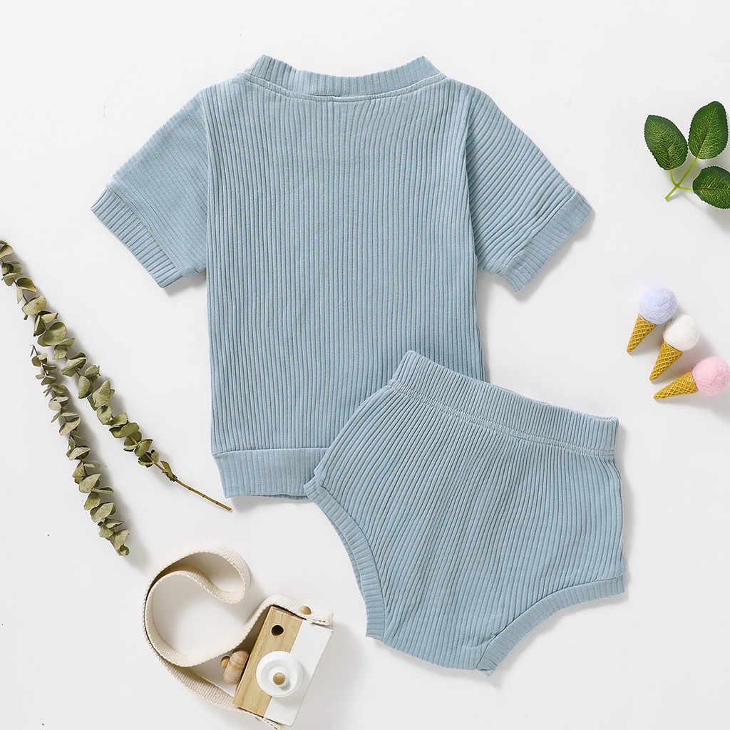 ใหม่มาถึงขายส่งเด็กทารกเด็กหญิงเด็กชายชุดแขนสั้นเสื้อ + กางเกงขาสั้น 2PCS ชุดชุด 1-5Y จัดส่งฟรี