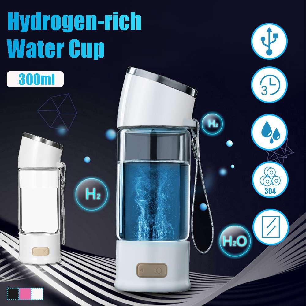 Hydrogen Rich Water Glass Cup 300ml USB Rechargeble Alkaline Ionizer Maker Generator Antioxidants Hydrogen Rich Water Bottle