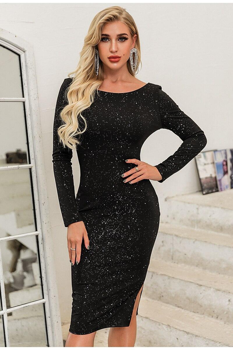 Elegant Black O-Neck Long Sleeve Backless Sequin Midi Dress 3