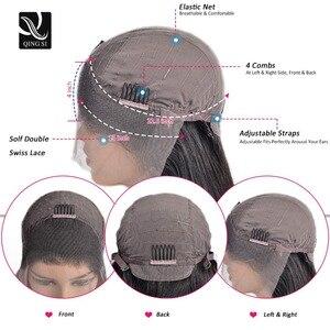 Image 2 - 흑인 여성을위한 곱슬 머리 인간의 머리 가발 150% 밀도 옹 브르 브라운가 발 레이스 정면 13*4 곱슬 레이스 프런트가 발 브라질 머리카락