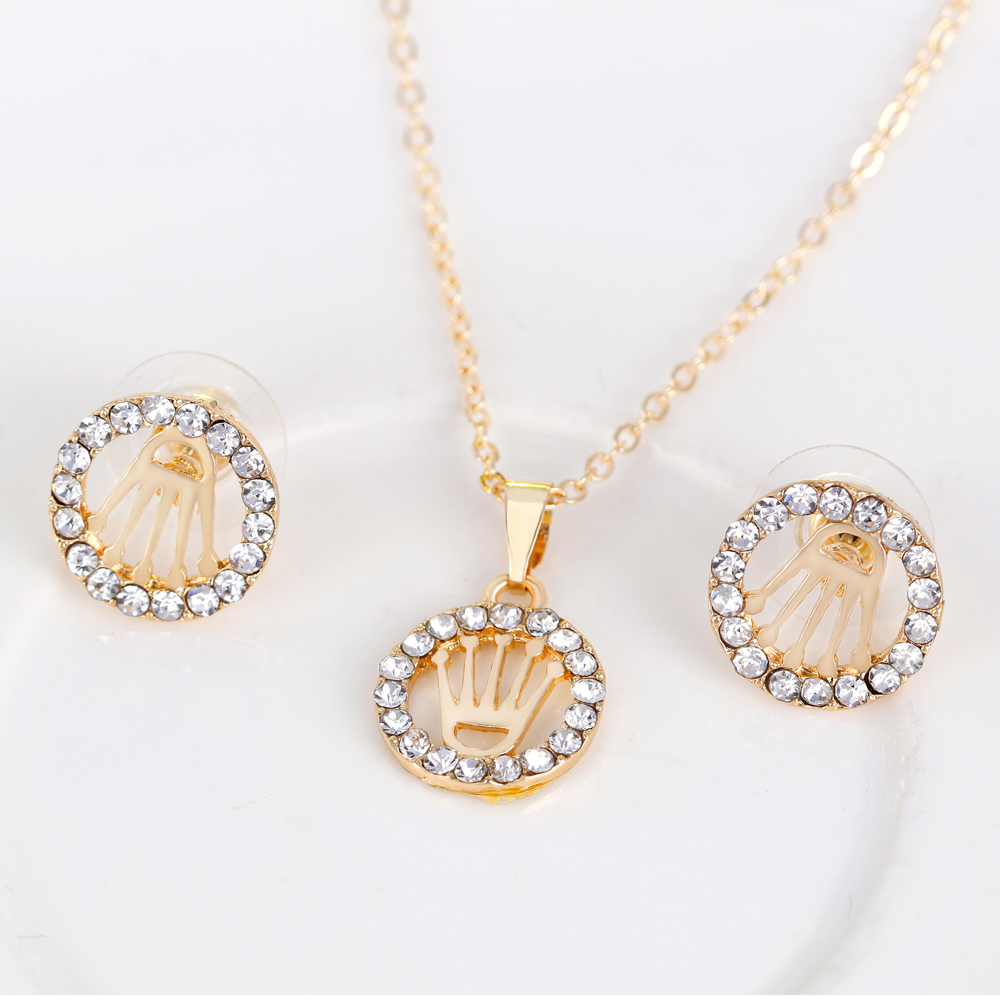 Honorable Crown Pendant Women Girls African Necklace Earrings Ring Bracelet Fashion Wedding Jewelry Set Bridal Jewelry Set