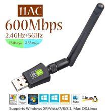 Kebidu RTL8811CU AC 600 mb/s antena USB 802.11n antena Wi-Fi duża odległość 2.4Ghz + 5Ghz odbiornik Wi-Fi karta sieciowa bezpłatny sterownik