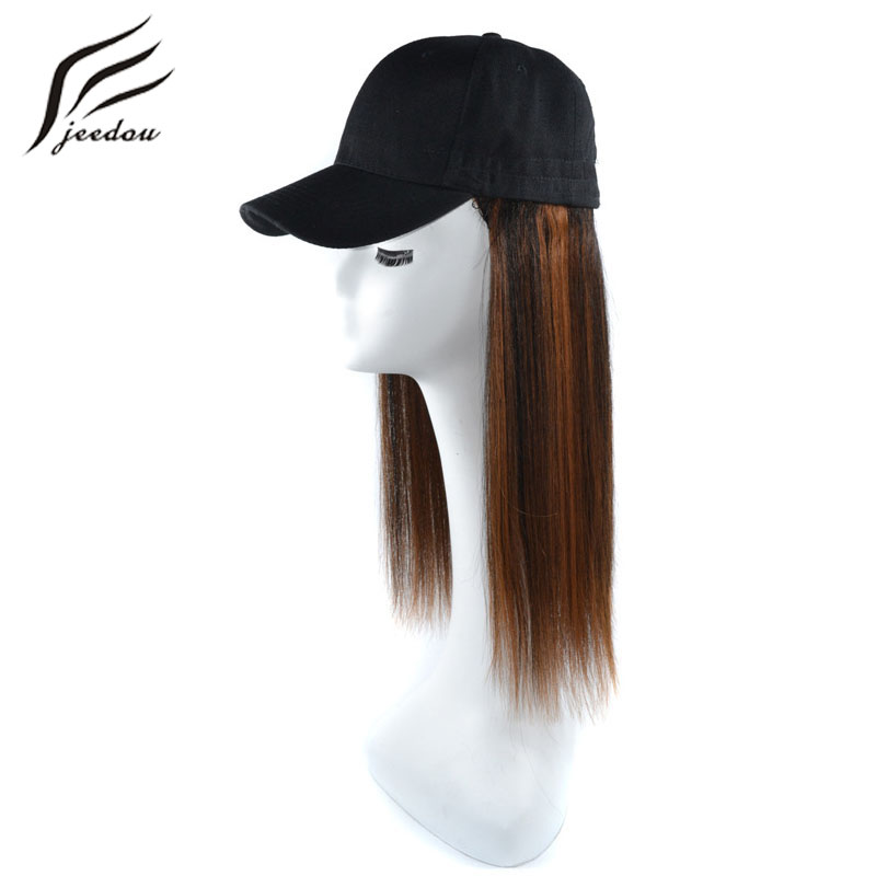 Jeedou Synthetic Hair Wig With Baseball Cap Long Straight 40cm 160g Black Brown Color Hair Extension With Black Hat For Girl