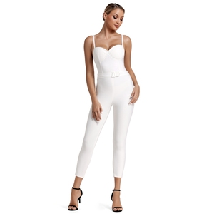 Image 2 - Deer Lady Deer Lady 2019 Bandage Jumpsuit Summer Women Strappy White Bandage Jumpsuit Bodycon One Piece Sexy Jumpsuit Clubwear