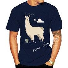 Hola! Llama Men's Black T-shirt Hip Hop Clothing Cotton Short Sleeve T Shirt Men High Quality Tees Top Tee