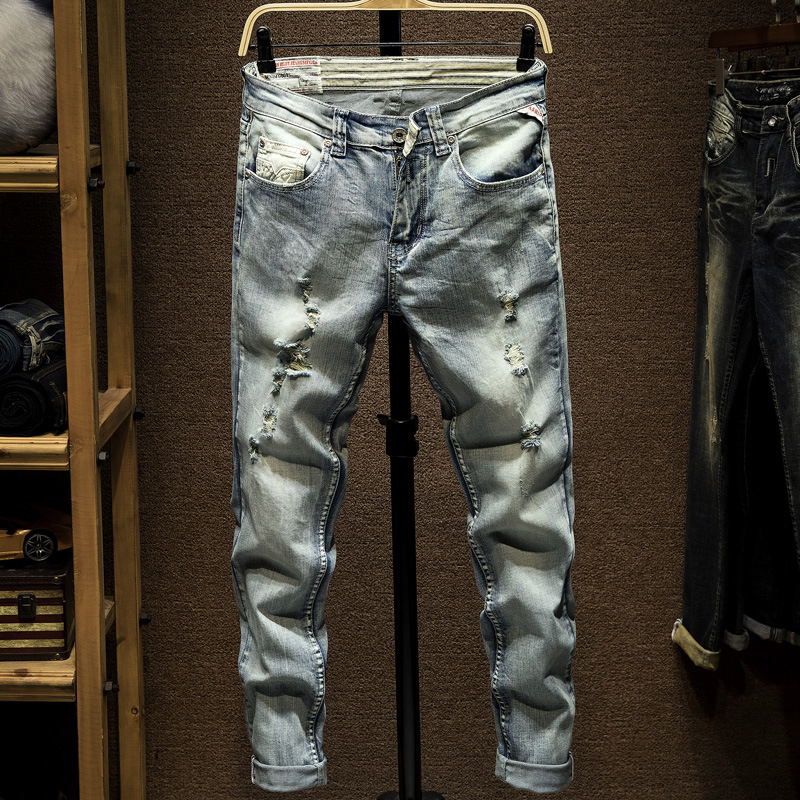 Italian Style Fashion Men Jeans Retro Light Blue Slim Fit Vintage Designer Ripped Jeans Men Pants Streetwear Hip Hop Jeans Homme