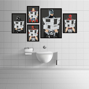 Cartoon Man Poster&Print On The Wall Read Newspaper In Toilet Painting Washroom Restroom Decor Art Picture Home Decoration(China)
